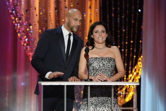 LOS ANGELES, CA - JANUARY 30: Actors Keegan-Michael Key (L) and Julia Louis-Dreyfus speak onstage during the 22nd Annual Screen Actors Guild Awards at The Shrine Auditorium on January 30, 2016 in Los Angeles, California.   Kevork Djansezian/Getty Images/AFP