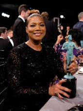 LOS ANGELES, CA - JANUARY 30: Queen Latifah, winner of the Outstanding Performance by a Female Actor in a Miniseries or Television Movie award for 'Bessie', poses during The 22nd Annual Screen Actors Guild Awards at The Shrine Auditorium on January 30, 2016 in Los Angeles, California. 25650_013   Dimitrios Kambouris/Getty Images for Turner/AFP