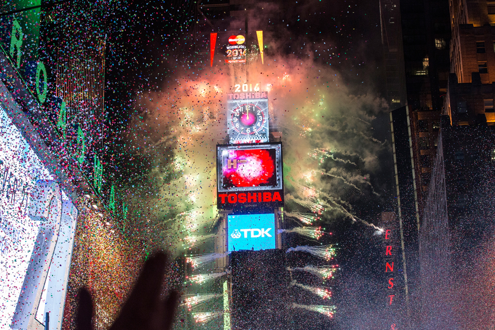 NEW YORK, NY - JANUARY 1: Fireworks go off as the new year is rung in in Times Square on January 1, 2016 in New York City. The New York City Police Department deployed more than 6,000 officers in the Times Square area, including more than 1,100 officers who graduated from the police academy on Tuesday.   Andrew Burton/Getty Images/AFP