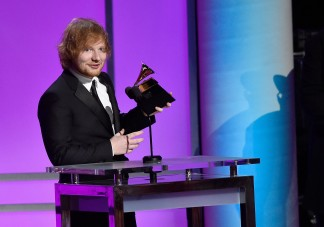 "LOS ANGELES, CA - FEBRUARY 15: Singer-songwriter Ed Sheeran accepts the Grammy Award for Best Pop Solo Performance, for ""Thinking Out Loud,"" onstage during the GRAMMY Pre-Telecast at The 58th GRAMMY Awards at Microsoft Theater on February 15, 2016 in Los Angeles, California. Kevork Djansezian/Getty Images/AFP"