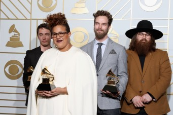 LOS ANGELES, CA - FEBRUARY 15: (L-R) Musicians Heath Fogg, Brittany Howard, Steve Johnson, and Zac Cockrell of Alabama Shakes, winners of Best Alternative Music Album for 'Sound & Color' and Best Rock Performance and Best Rock Song for 'Don't Wanna Fight,' pose in the press room during The 58th GRAMMY Awards at Staples Center on February 15, 2016 in Los Angeles, California. Frederick M. Brown/Getty Images for NARAS/AFP