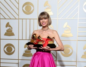 "LOS ANGELES, CA - FEBRUARY 15: Singer Taylor Swift, winner of the awards for Album of the Year and Best Pop Album for ""1989"" and Best Music Video for ""Bad Blood,"" poses in the press room during The 58th GRAMMY Awards at Staples Center on February 15, 2016 in Los Angeles, California. Frederick M. Brown/Getty Images for NARAS/AFP"