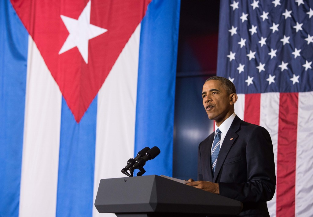 """US President Barack Obama speaks during an entrepreneurship panel discussion in Havana on March 21, 2016. Obama and his Cuban counterpart Raul Castro vowed Monday in Havana to set aside their differences in pursuit of what the US president called a """"new day"""" for the long bitterly divided neighbors.    AFP PHOTO/Nicholas KAMM / AFP / NICHOLAS KAMM"""