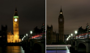 This combination picture shows the Houses of Parliament before and after the lights were switched off for Earth Hour in London