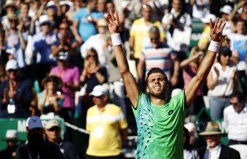 Czech Republic's Jiri Vesely celebrates after defeating Serbia's Novak Djokovic in their tennis match at the Monte-Carlo ATP Masters Series tournament, on April 13, 2016 in Monaco. AFP PHOTO / JEAN CHRISTOPHE MAGNENET / AFP PHOTO / Jean-Christophe MAGNENET