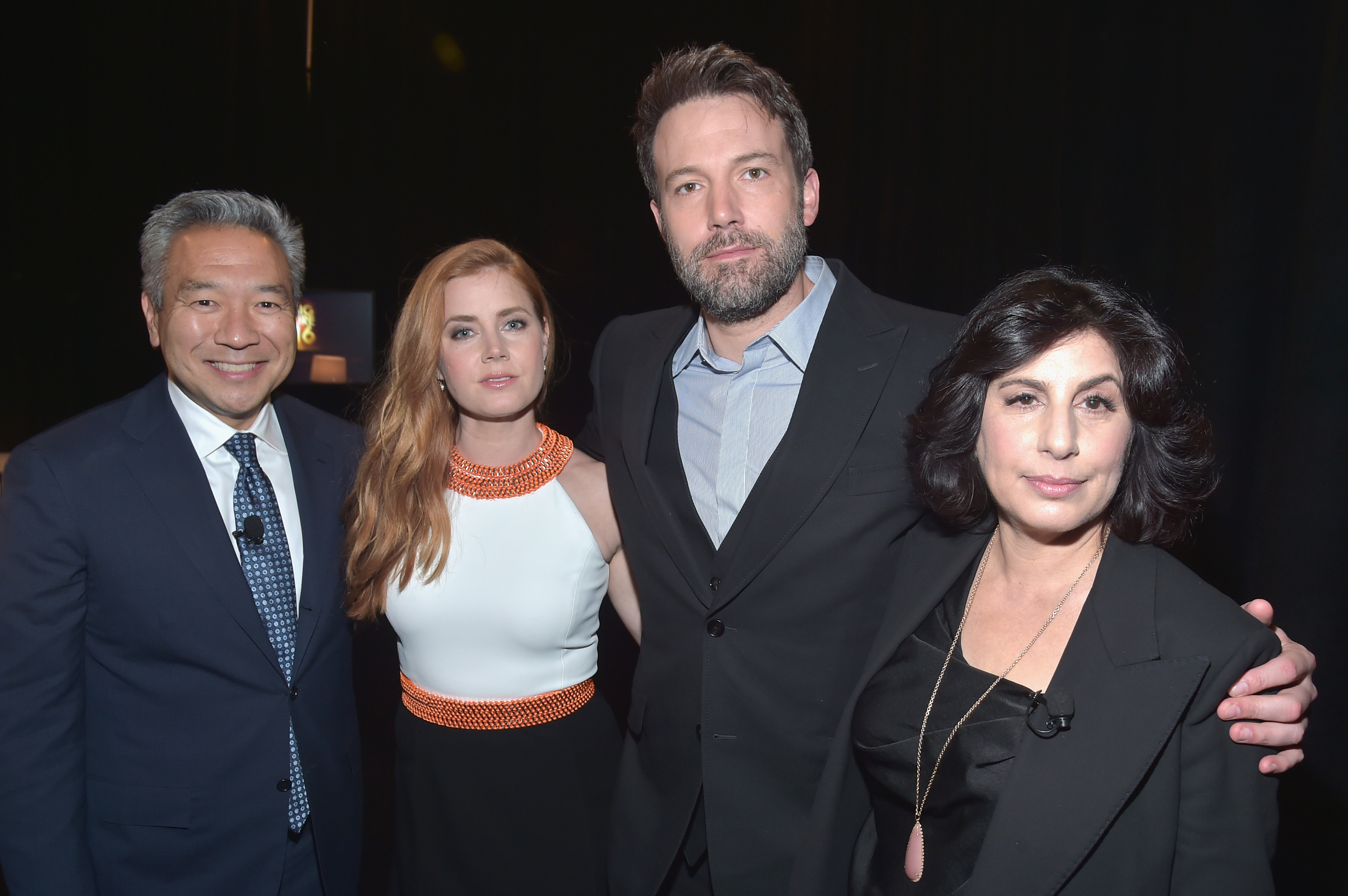 LAS VEGAS, NV - APRIL 12: (L-R) CEO and Chairman of Warner Bros. Kevin Tsujihara, actors Amy Adams, Ben Affleck and Warner Bros. Pictures President of Worldwide Marketing and Distribution Sue Kroll attend CinemaCon 2016 Warner Bros. Pictures Invites You to ?The Big Picture?, an Exclusive Presentation Highlighting the Summer of 2016 and Beyond at The Colosseum at Caesars Palace during CinemaCon, the official convention of the National Association of Theatre Owners, on April 12, 2016 in Las Vegas, Nevada.   Alberto E. Rodriguez/Getty Images for CinemaCon/AFP