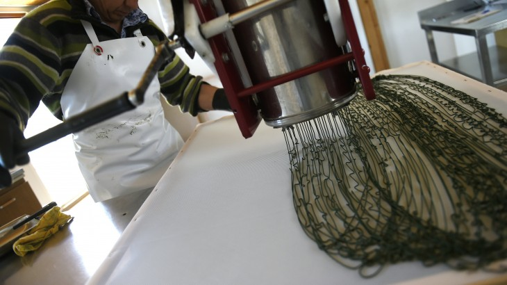 """A worker processes spirulina paste to make little ribbons before drying on April 7, 2016 in Condillac, southeastern France.   Spirulina is presented as """"the richest food in nature after breast milk."""" This cyanobacteria, formerly called """"blue algae"""" has been around 3.5 billion years. But it was only in the 60s that a botanist, Jean Leonard rediscovered it. He did not understand why a tribe of Lake Chad was in better health than others. And there he found that its members were eating spirulina, which spontaneously grows in the lake, said Emilie Rousselou, spokesman of the sector in France. These qualities have led to the solving of problems of malnutrition in Africa. / AFP PHOTO / PHILIPPE DESMAZES"""
