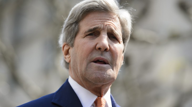 "US Secretary of State John Kerry attends a press briefing following a meeting with United Nations Syria envoy on May 2, 2016 in Geneva. Syria's civil war is ""in many ways out of control"" US Secretary of State John Kerry said on May 2, as he tried to salvage a two-month ceasefire in the war-torn country. / AFP PHOTO / FABRICE COFFRINI"