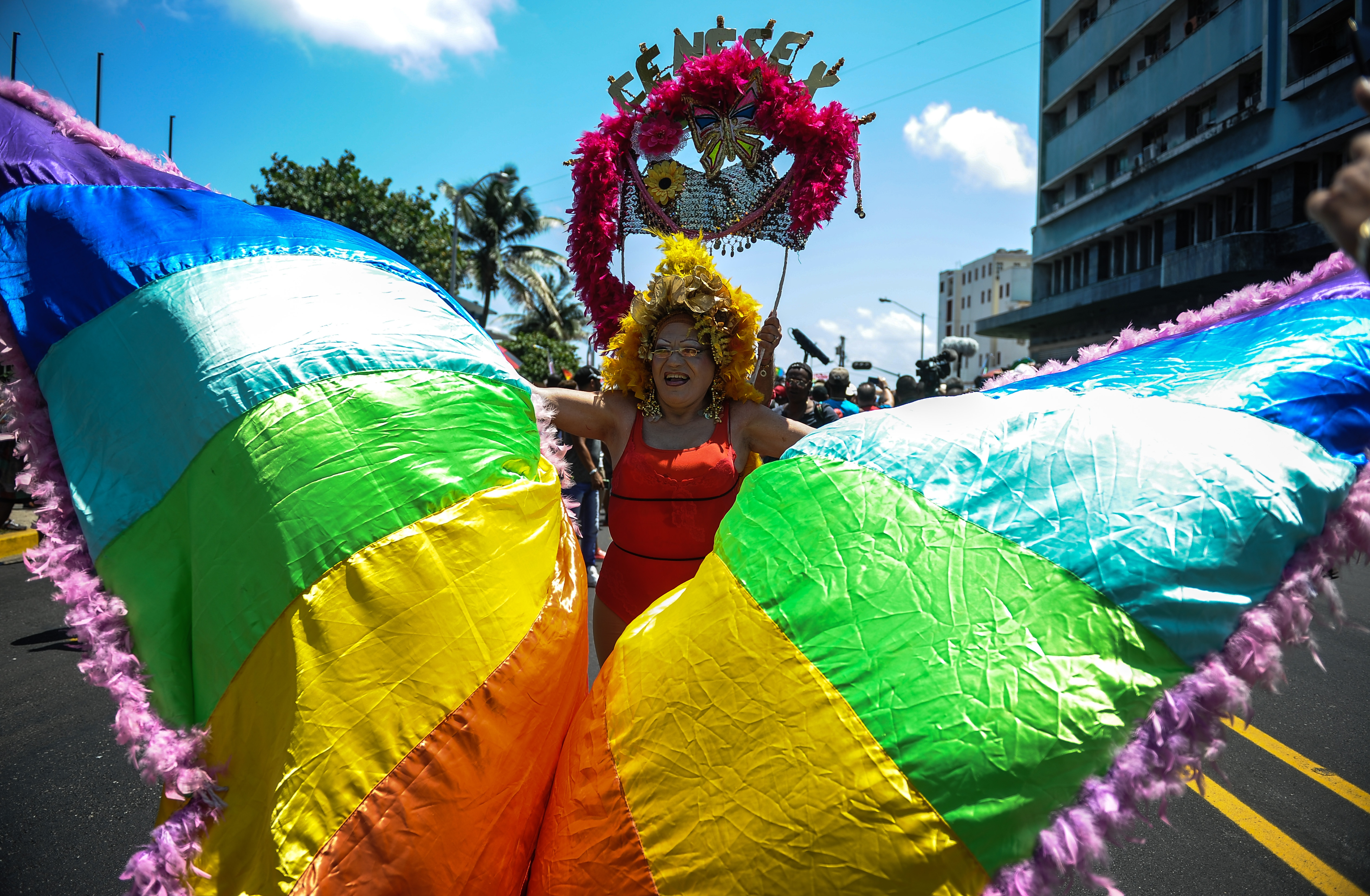 A member of the gay and lesbian community participates in a march against homophobia on May 14, 2016 in Havana. / AFP PHOTO / YAMIL LAGE