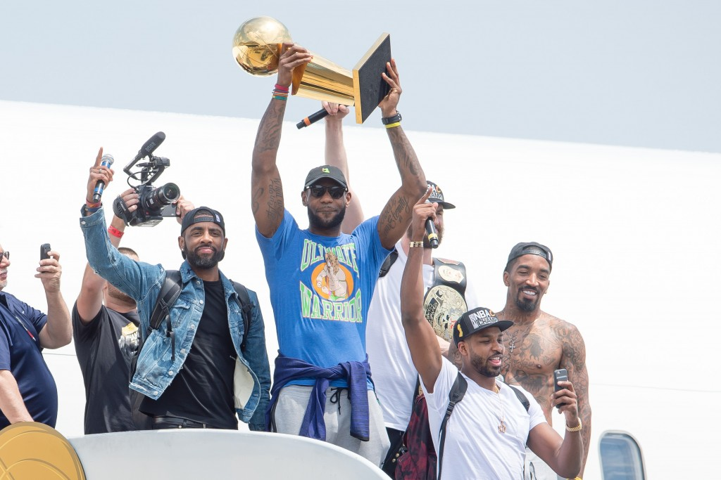 CLEVELAND, OH - JUNE 20: Kyrie Irving #2, LeBron James #23, Tristan Thompson #13, Kevin Love #0 and J.R. Smith #5 of the Cleveland Cavaliers return to Cleveland after wining the NBA Championships on June 20, 2016 in Cleveland, Ohio.   Jason Miller/Getty Images/AFP