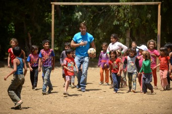 On 1 June 2016, UNICEF goodwill ambassador Ricky Martin plays football with Syrian refugee children at Al-Hissa informal refugee settlement in northern Lebanon. World-renowned singer and UNICEF Goodwill Ambassador Ricky Martin calls for increased focus on safeguarding the futures of millions of children affected by the Syria conflict, whose lives have been shaped by displacement, violence and a persistent lack of opportunities. Around 1.1 million Syrians have sought refuge in Lebanon since the start of the crisis in 2011, more than half of them are children. Child refugees are particularly at risk of exploitation and abuse, with large numbers being left with no choice but to go out to work, rather than attend school.  The deteriorating economic situation for Syrian refugees has dramatically exacerbated the problem of child labour in Lebanon. Adding to the psychological distress already affecting many of the children who have fled conflict and violence at home is the challenge associated with some of the worst forms child labour such as working on construction sites, which can cause long-term developmental and psychological damage as well as physical harm.  During the two-day visit on 1-2 June 2016, Martin also witnessed how UNICEF is working to provide protective environments for children and adolescents where they can play and receive the support they need to get back into formal education. In Lebanon's Bekaa valley and Akkar, Martin participated in recreational activities for children at safe spaces in informal settlements. Additionally, he met adolescents attending life-skills training, provided by UNICEF and partners, where girls and boys are given vocational training and learning support.