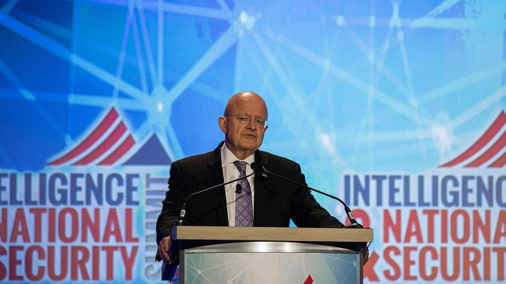 Director of National Intelligence James Clapper speaks at the 2016 Intelligence and National Security Summit in Washington, DC, September 7, 2016. / AFP PHOTO / JIM WATSON