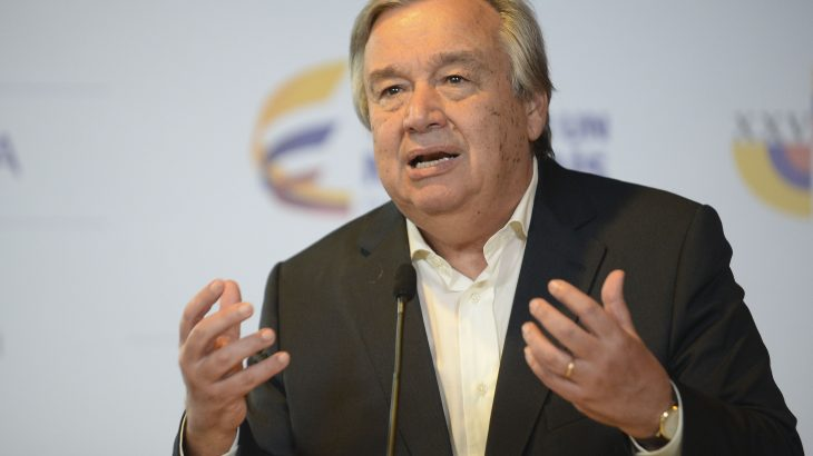 UN Secretary-General-designate, Antonio Guterres, speaks during the XXV Ibero-American Summit in Cartagena, Colombia, on October 29, 2016.  The two-day Ibero-American Summit, started October 28 amid concerns over instability in Venezuela and Colombia's troubled peace drive. / AFP PHOTO / RAUL ARBOLEDA
