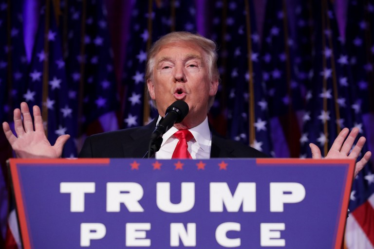 NEW YORK, NY - NOVEMBER 09: Republican president-elect Donald Trump delivers his acceptance speech during his election night event at the New York Hilton Midtown in the early morning hours of November 9, 2016 in New York City. Donald Trump defeated Democratic presidential nominee Hillary Clinton to become the 45th president of the United States. Chip Somodevilla/Getty Images/AFP